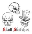 Sketched human skulls for halloween design vector image