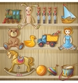 Kids Toys On Shelves Composition vector image