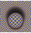 Optical of the ball is rolling into a hole vector image