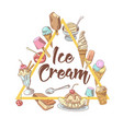 ice cream hand drawn vintage menu design vector image