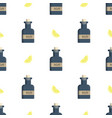 seamless pattern with rum bottles and lemon  flat vector image