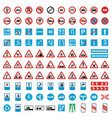 Traffic road sign collection icons set flat style vector image