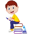 Boy cartoon reading book vector image