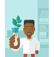 Black guy Chemist with tube and eco leaves vector image