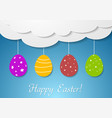 Flat design with Easter eggs and clouds vector image