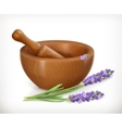 Lavender and wooden mortar vector image