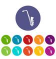 saxophone set icons vector image