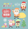 Three santa claus vntage with elf elements set vector image
