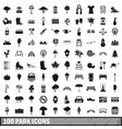100 park icons set in simple style vector image