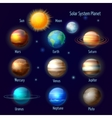 Solar system planets pictograms set vector image