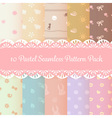 ten pastel cute seamless pattern background pack vector image