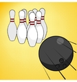Bowling game pop art style vector image