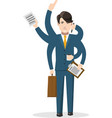 Businessman with many hands isolated concept vector image