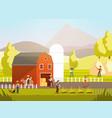 cartoon farm with farmers farm animals and vector image