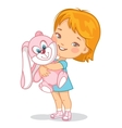 Child with pink plush rabbit toy vector image