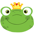 Cute Frog Smiling Head With Crown vector image