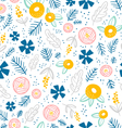Floral doodle pattern on white vector image