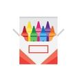 full box of wax colorful crayons vector image