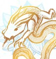 Ink hand drawn stylized chinese dragon on water vector image
