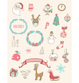 Set of Christmas doodle design elements vector image