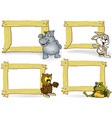 Wood Frame with Cartoon Animal vector image