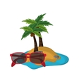 tropical island and sunglasses icon vector image