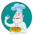 Cartoon chef holding a pizza vector image