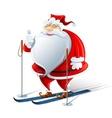 happy santa claus on ski vector image vector image