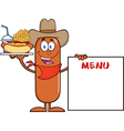 Cowboy Sausage Cartoon vector image vector image