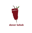 doner kebab with leaves vector image