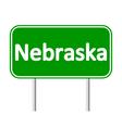 Nebraska green road sign vector image