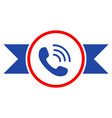 phone call seal with ribbons flat icon vector image