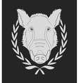Wild boar head in laurel wreath Chalkboard vector image