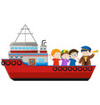 Captain and passengers on the ship vector image