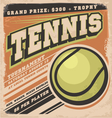 Retro poster design for tennis tournament vector image