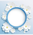 Round frame with 3d sakura invitation or greeting vector image vector image