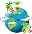 Vacation theme with scenes on earth vector image