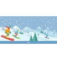 Skiing Winter Landscape Design vector image