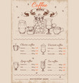 coffee hand drawn restaurant menu vector image