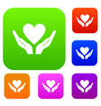 hands holding heart set collection vector image
