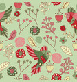 seamless pattern floral bird green red vector image