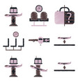 set of flat icons in shading style airport service vector image
