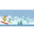 Skiing Winter Landscape Design vector image