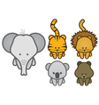 set of cartoon wild or zoo animals vector image
