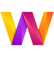 W letter one line colorful logo design template vector image