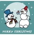 Two snowmen doodles vector image vector image