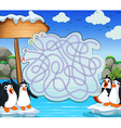 Game template with penquins on iceberg vector image