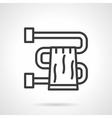 Bathroom towel black line design icon vector image