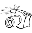 Black and white contour photo camera vector image