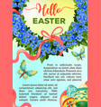 eeaster holiday flower poster template vector image